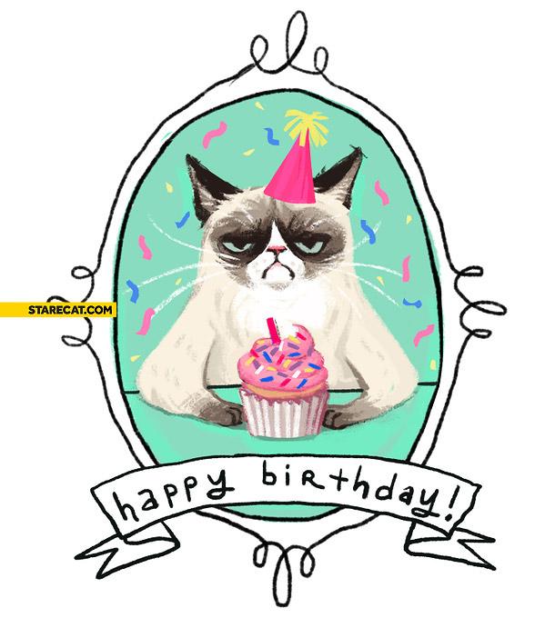 Grumpy Cat Happy Birthday Card Starecat