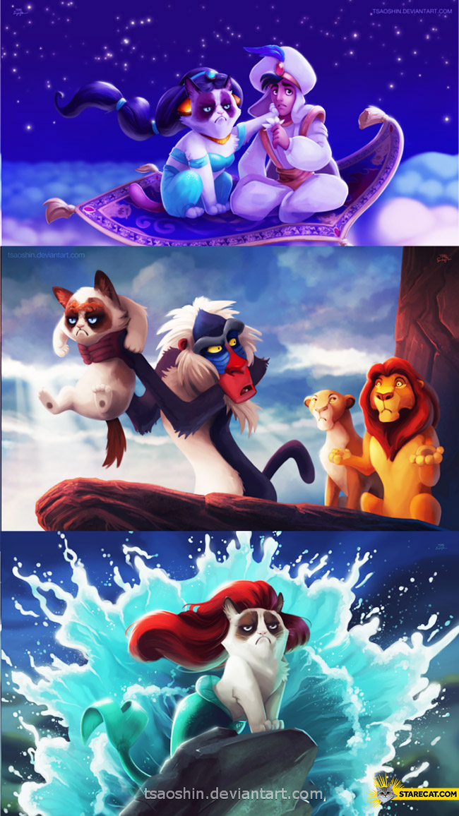 Grumpy cat in Walt Disney cartoons