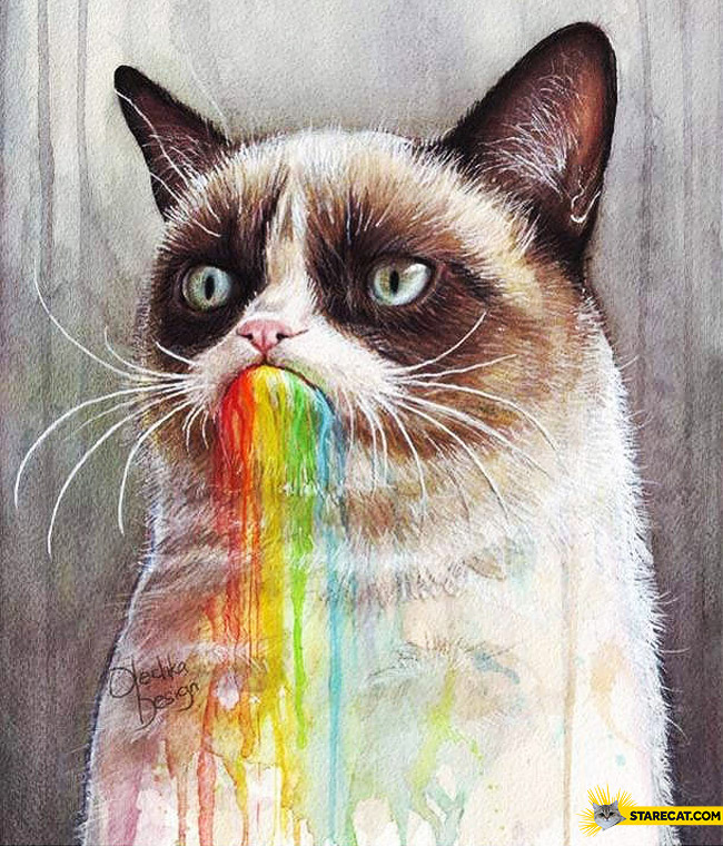 Grumpy rainbow puke drawing