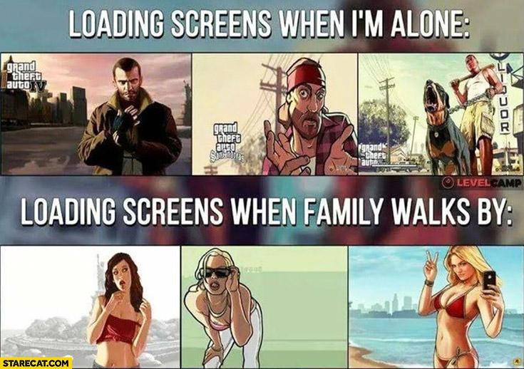 GTA Grand Theft Auto loading screens when I'm alone vs when family walks by