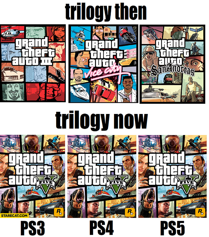 GTA Grand Theft Auto trilogy then and now GTA v for PS3, PS4 PS5 Playstation