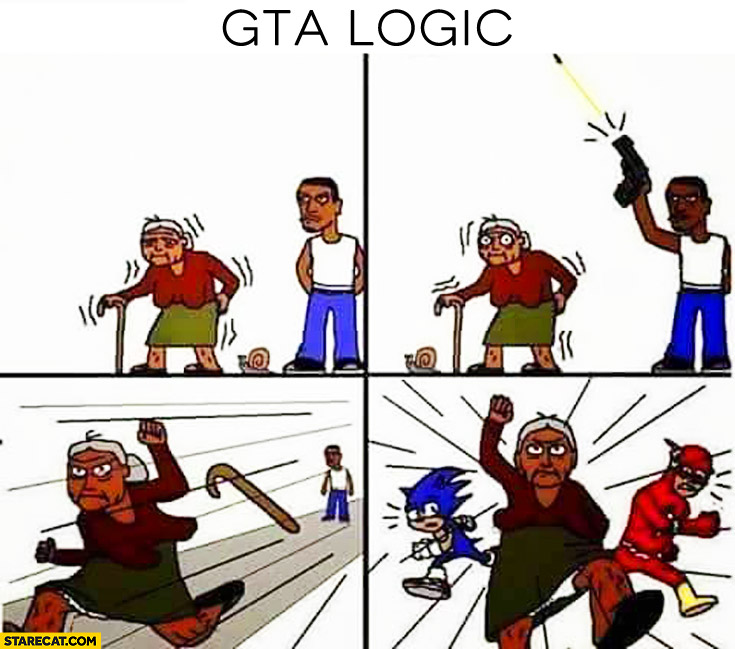 GTA logic grandma running after shot