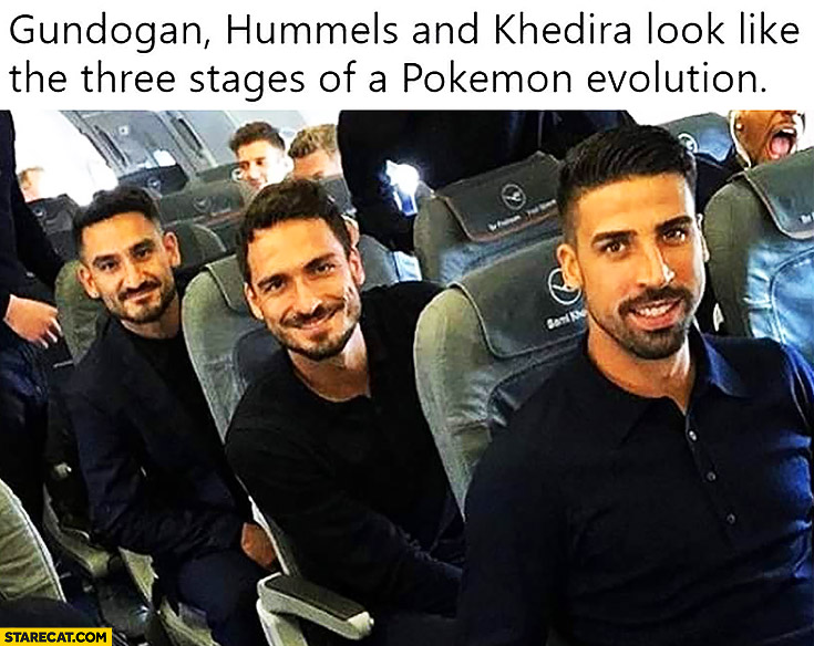 Gundogan, Hummels and Khedira look like the three stages of a Pokemon evolution