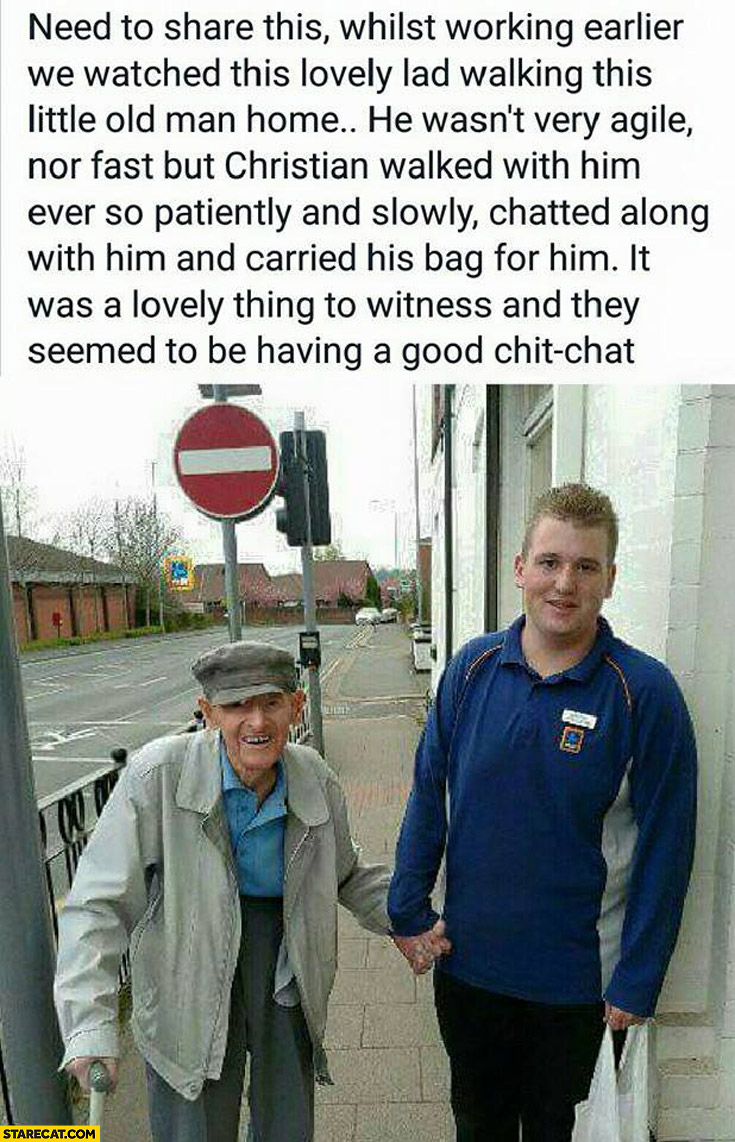 Guy walking old man home story