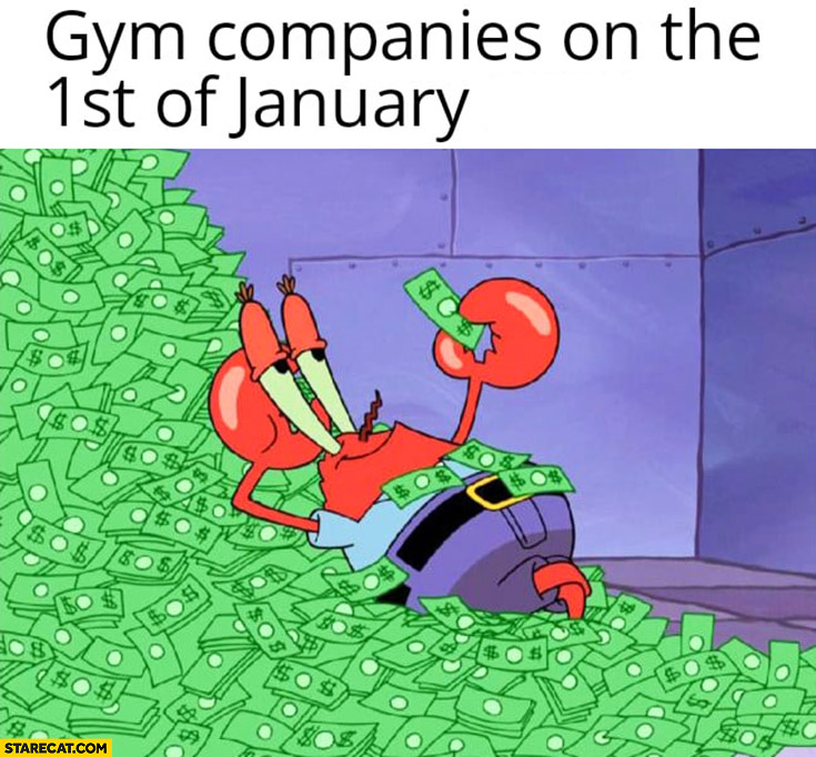 Gym companies on the 1st of January full of cash money