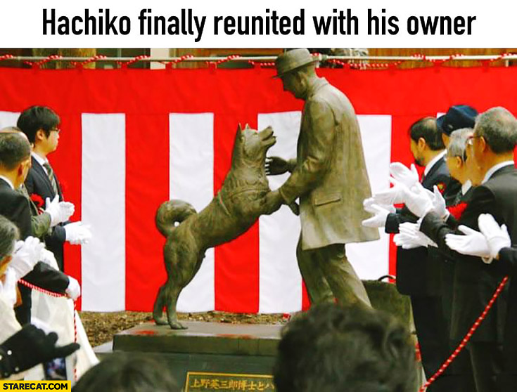 Hachiko finally reunited with his owner statue