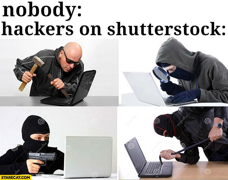 Hackers on shutterstock burglars with laptops