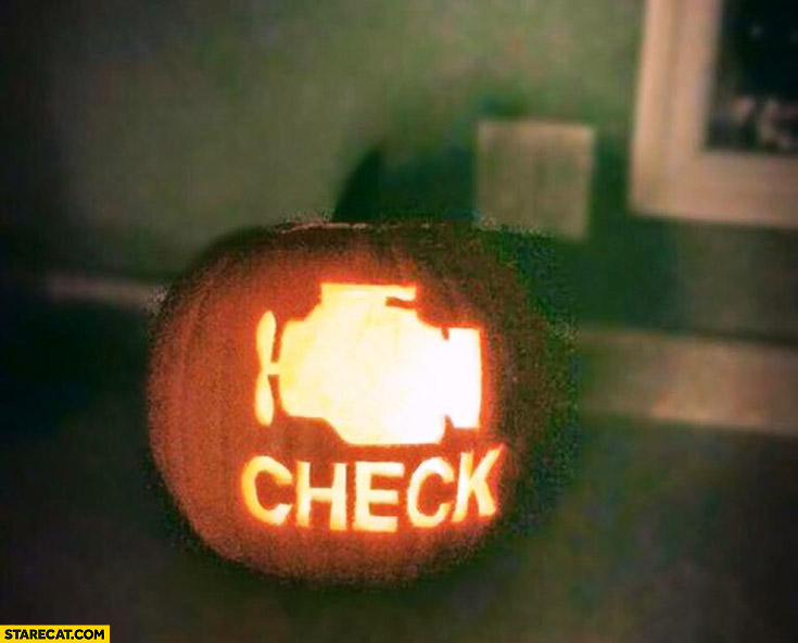 Halloween pumpkin check engine dashboard warning light