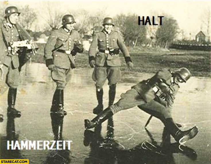 Halt it's hammerzeit German soldier collapsed on ice looks like dancing