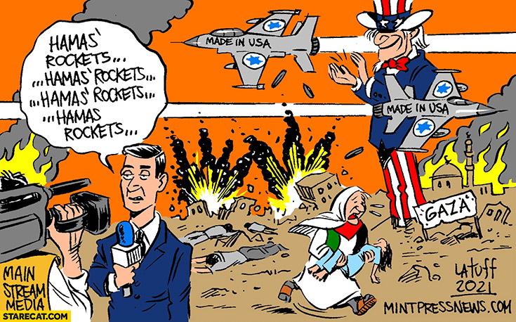 Hamas rockets actually made in USA Israel Palestine war drawing