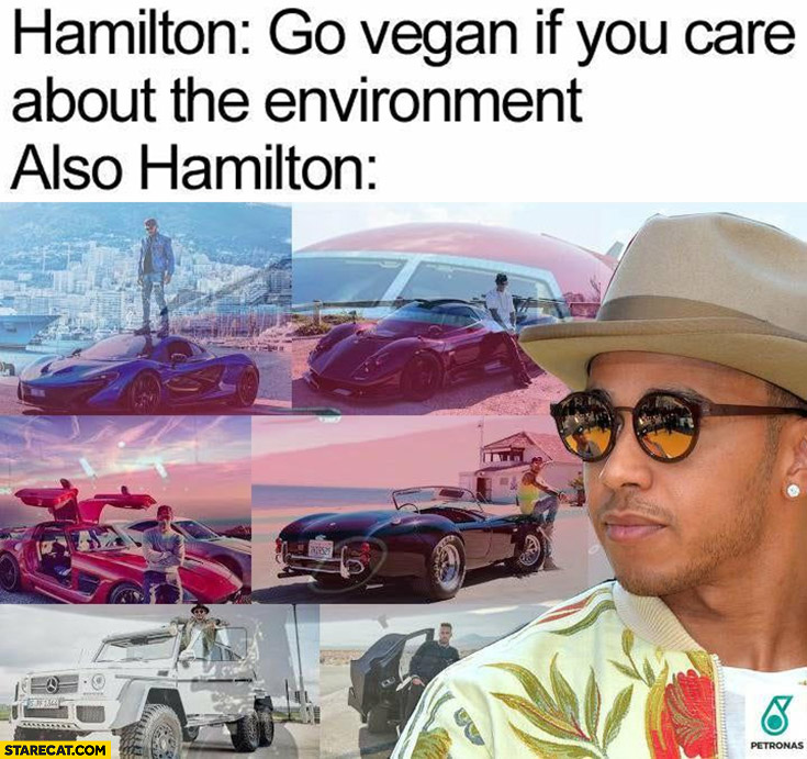 Hamilton: go vegan if you care about the environment, also Hamilton: petrol supercars