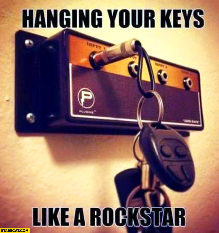 Hang your keys like a rockstar amplifier plug hanger