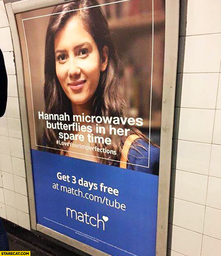 Hannah microwaves butterflies in her spare time ad poster
