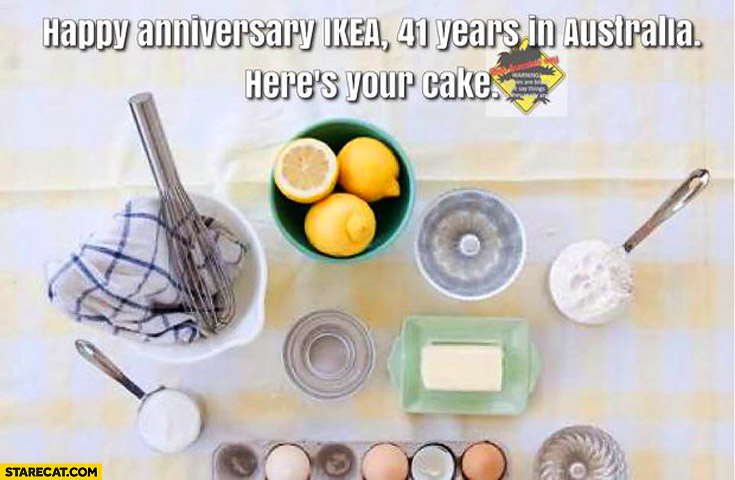 Happy universary IKEA 41 years here's your cake: ingridients to make cake