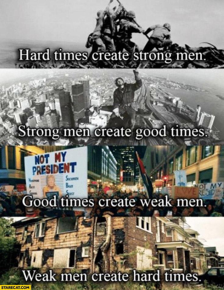 Hard times create strong men create good times create weak men create hard times