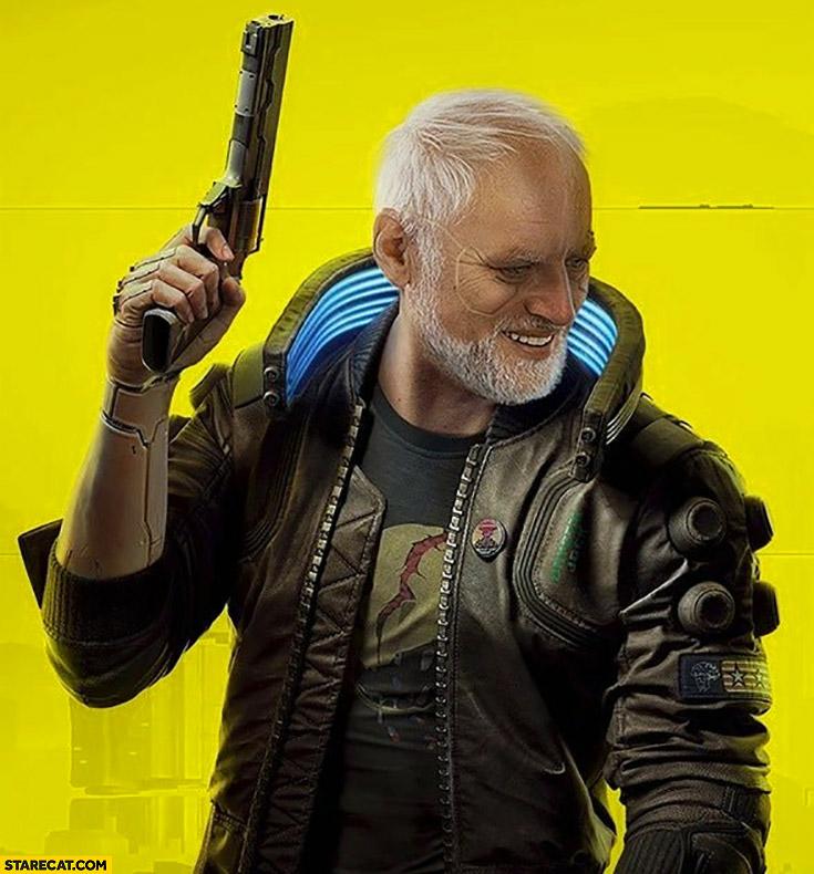 Harold Cyberpunk 2077 character photoshopped
