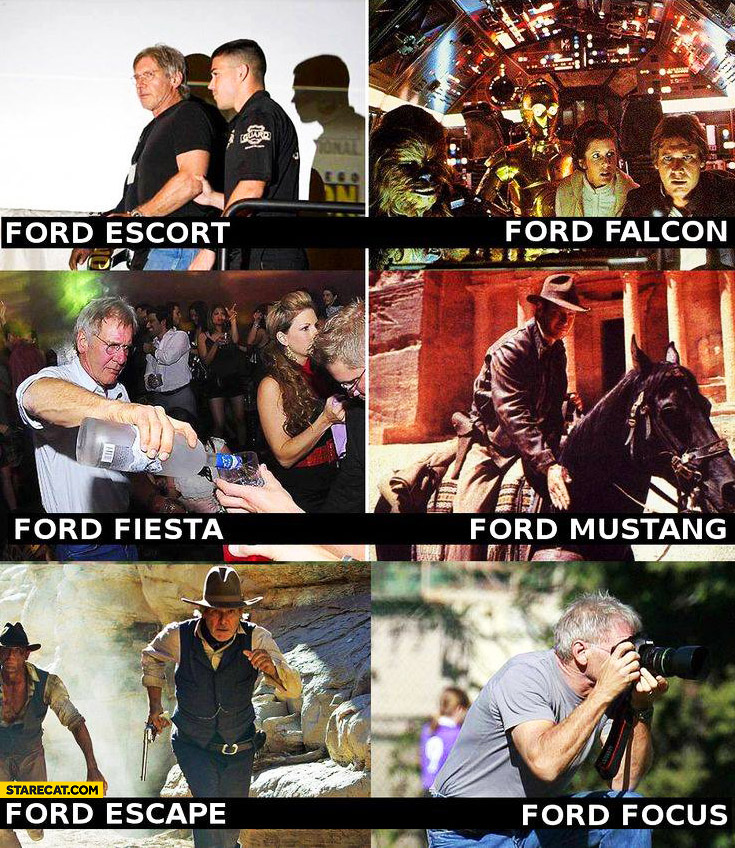 Harrison Ford Escort, Ford Falcon, Ford Fiesta, Ford Mustang, Ford Escape, Ford Focus