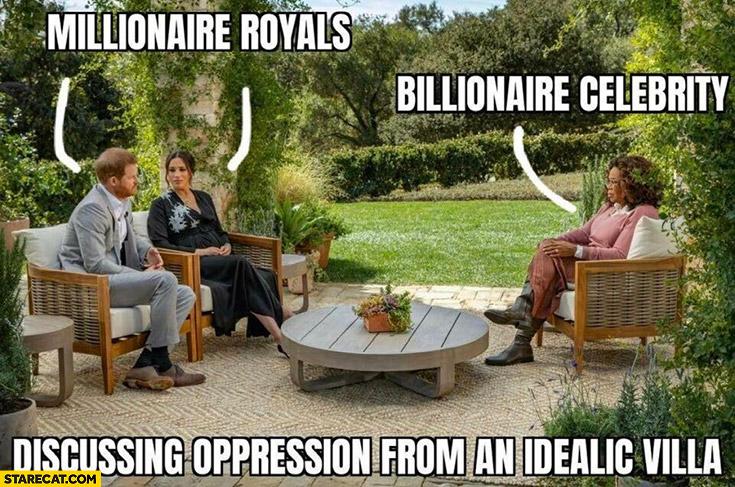 Harry Meghan millionaire royals, Oprah billionaire celebrity discussing oppression from an idealic villa