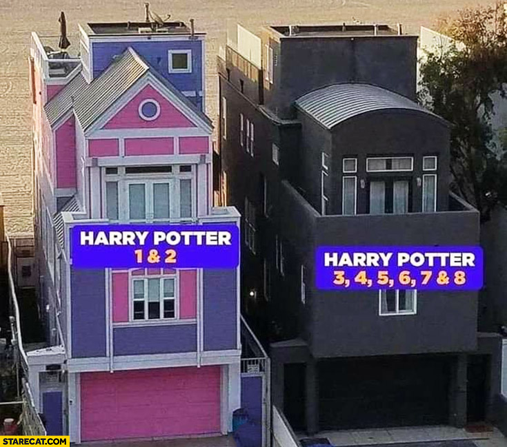 Harry Potter 1 and 2 vs Harry Potter 3, 4, 5, 6, 7, 8 buildings houses comparison