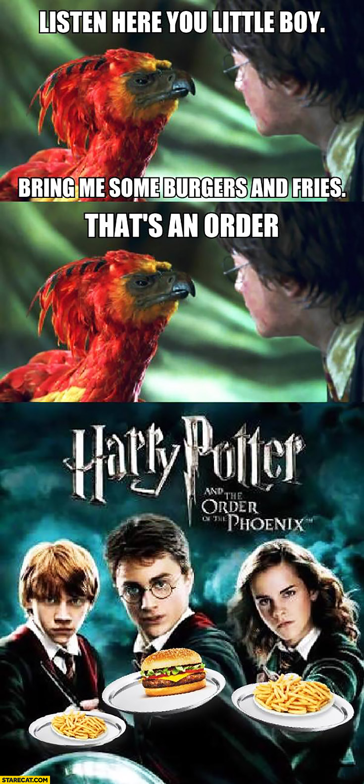 Harry Potter and the order of the Phoenix burgers and fries