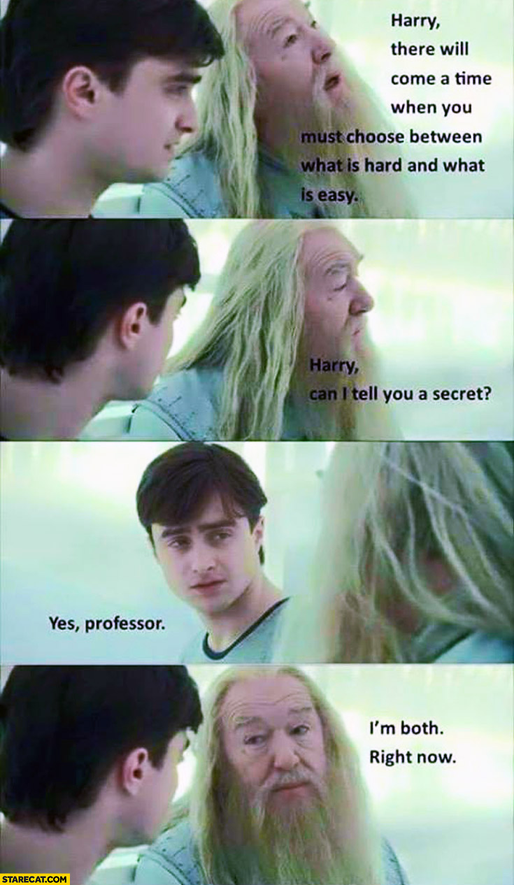 Harry Potter must choose between what is hard and what is easy I'm both right now professor