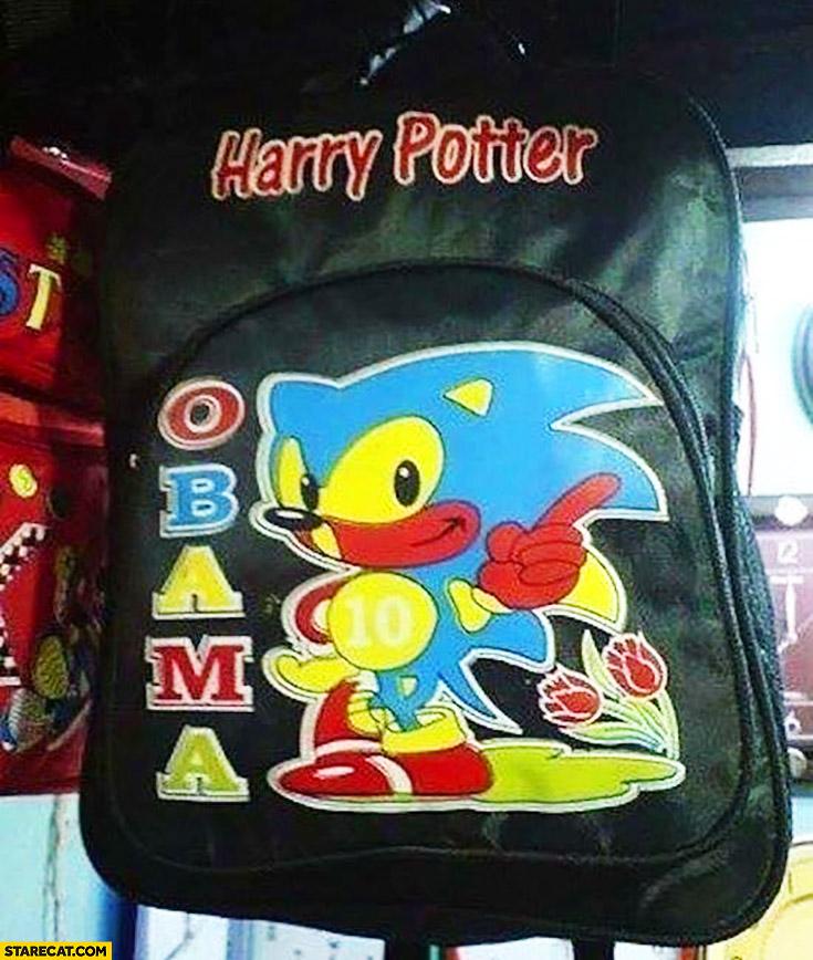 Harry Potter Obama Sonic Hedgehog backpack mind blown
