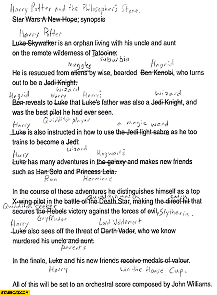 Harry Potter Star Wars plot comparison
