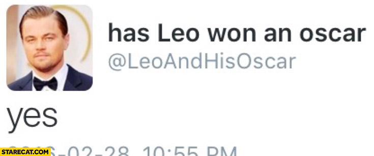 Has Leo won an Oscar? Yes twitter account