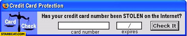 Has your credit card number been stolen on the internet? Check it online banner trolling