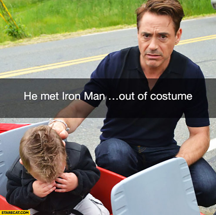 He met Iron Man out of costume Robert Downey Jr. crying kid
