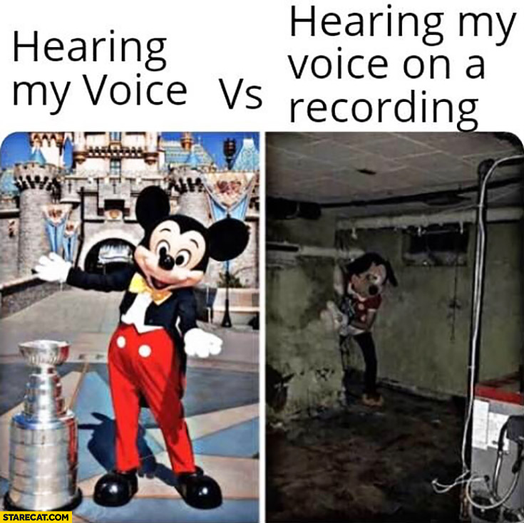 Hearing my voice vs hearing my voice on a recording Mickey Mouse