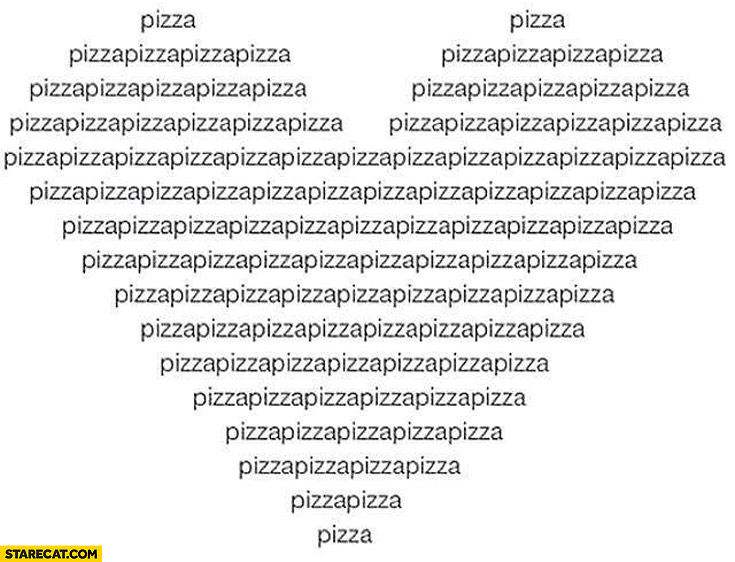 Heart made of pizza words