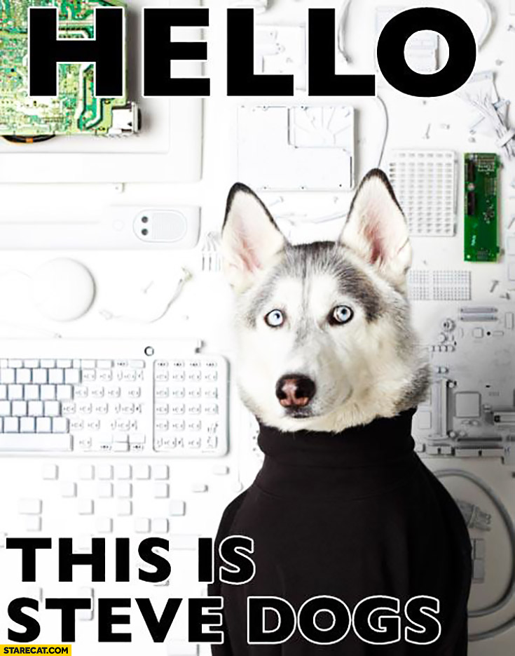 Hello this is Steve Dogs Steve Jobs black turtleneck