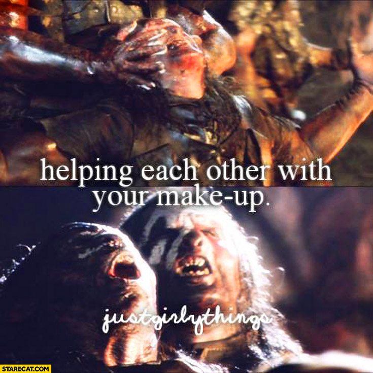 Helping each other with makeup just girly things Orcs