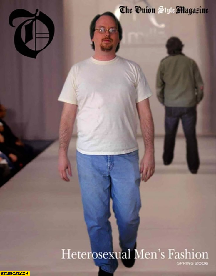 Heterosexual men's fashion catwalk ordinary jeans tshirt