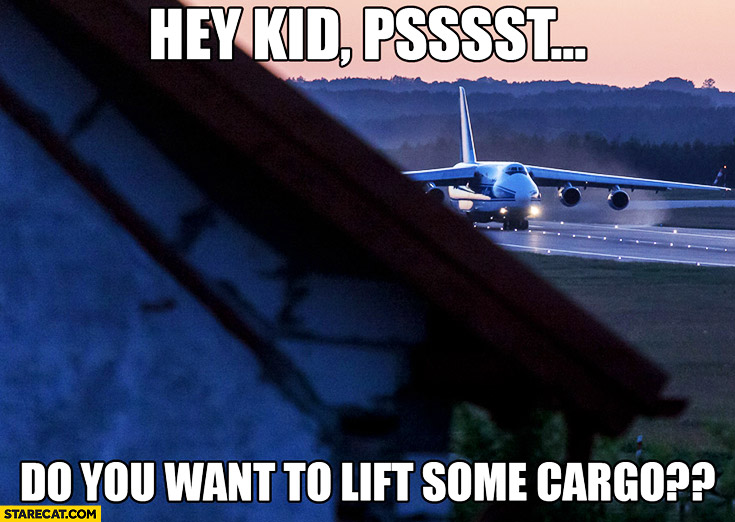 Hey kid, do you want to lift some cargo? Aeroplane meme