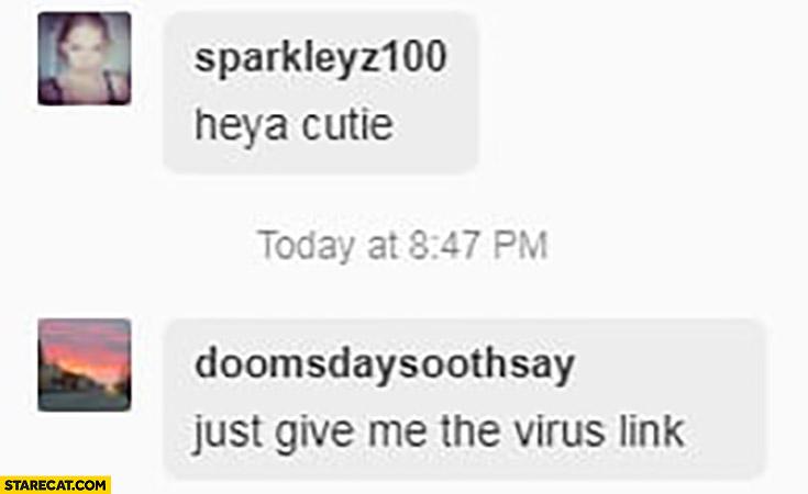 Heya cutie, just give me the virus link