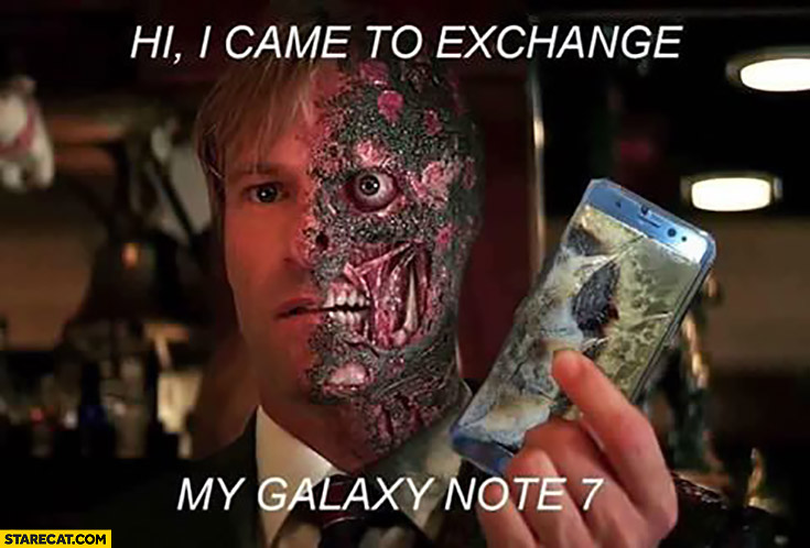Hi I came to exchange my Galaxy Note 7 half of the face burnt in explosion