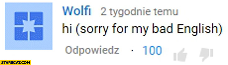 Hi (sorry for my bad English) YouTube comment