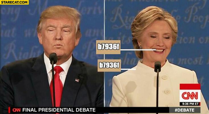 Hillary Clinton teeth colour same as suit colour beige hex value comparison