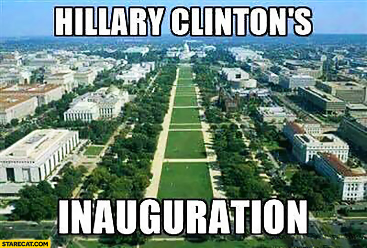 Hillary Clinton's inauguration no people empty field