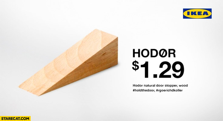 Hodor natural door stopper wood #holdthedoor #rgoerichdkoller Game of Thrones
