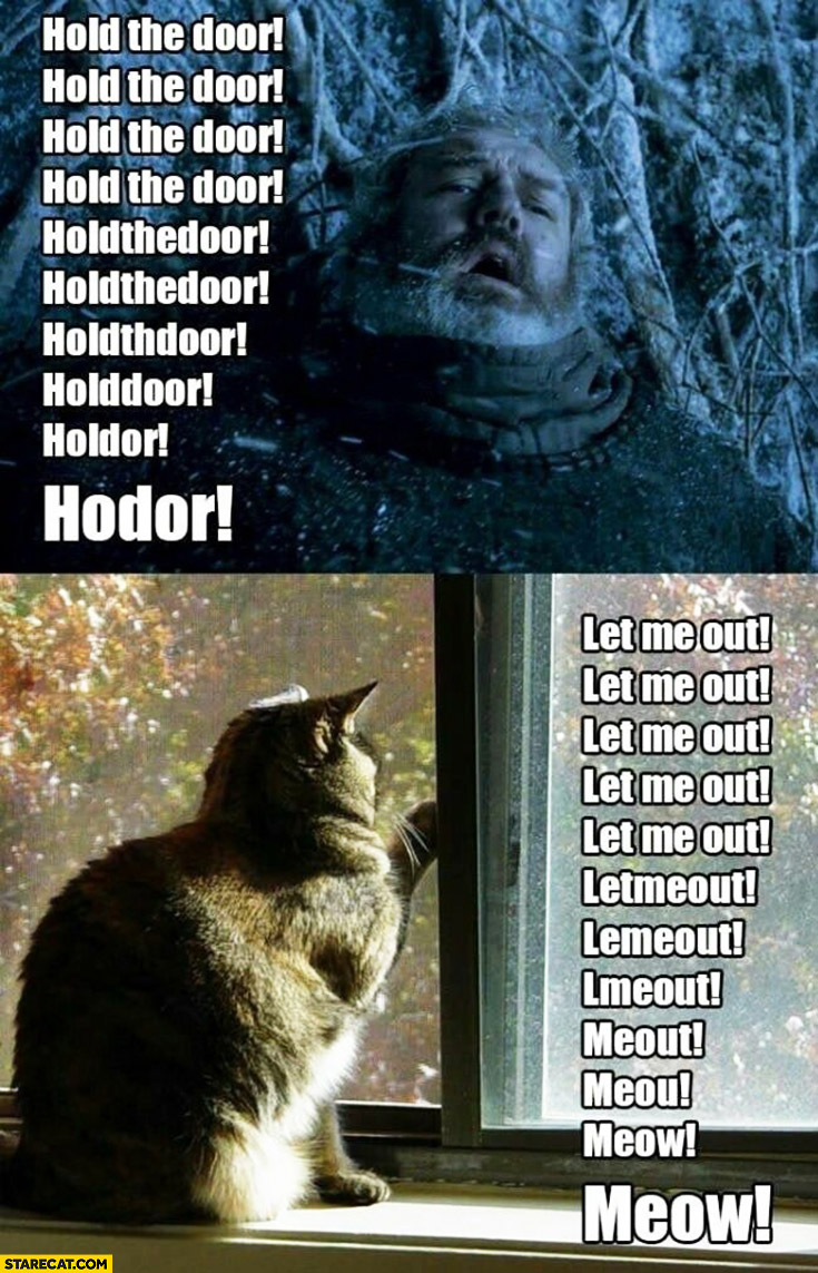 Hold the door Hodor, let me out meout meow cat Game of Thrones