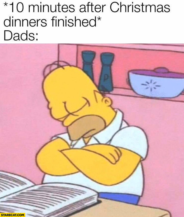 Homer Simpson 10 minutes after Christmas dinners finished dads fell asleep