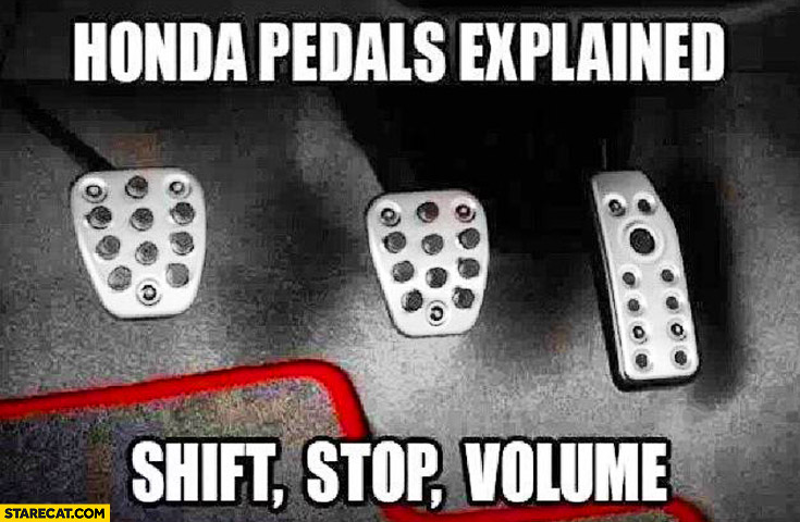 Honda pedals explained: shift, stop, volume