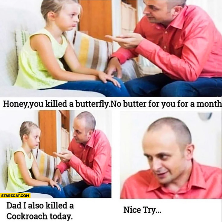 Honey you killed a butterfly, no butter for you for a month. Dad I also killed a cockroach today, nice try