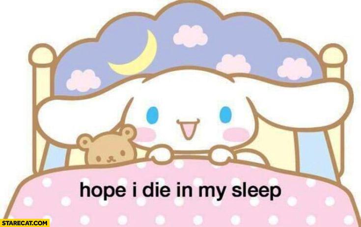 Hope I die in my sleep cute cartoon drawing