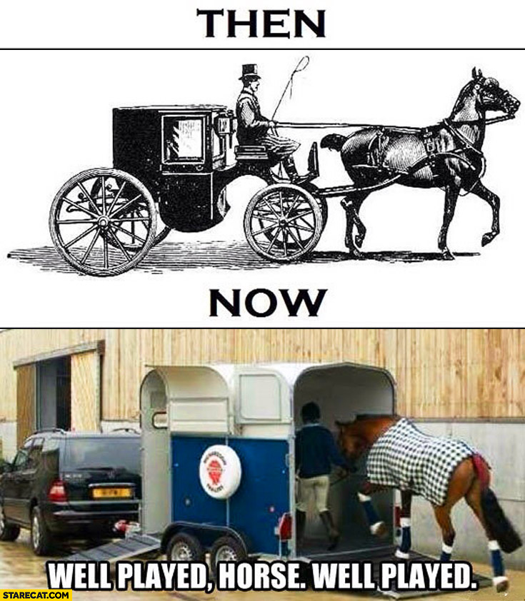 Horses then now well played car carrier