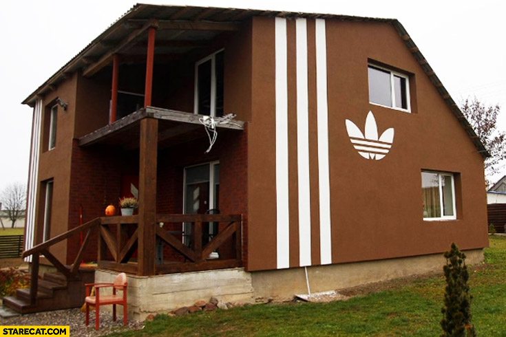 House with Adidas stripes logo