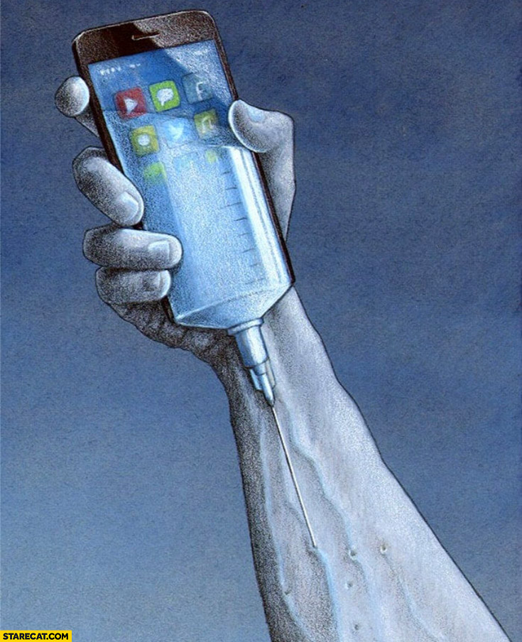 How addiction to social apps looks like taking drugs phone is like a needle